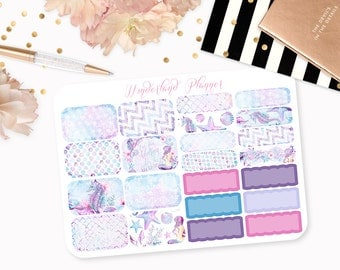 Watercolour Mermaid - Sea Life Themed Planner Stickers // Half Box Designs // Perfect for Erin Condren Vertical Life Planner
