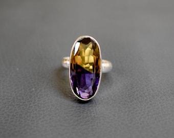 Size 7 - Ametrine Gemstone Ring - 925 Sterling Silver Ring - Ametrine Quartz Silver Ring - Gift for her - #EC-61