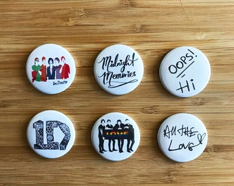 One Direction Pinback Button Set, One Direction Pins, Harry Styles, Zayn Malik, One Direction Birthday Gift, One Direction Lyrics, 1D Gifts