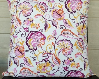 CLEARANCE Floral Pillow Cover - 16x16 - Yellow, Orange, Pink, Maroon