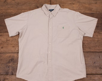 "Mens Polo by Ralph Lauren Cotton Short Sleeved Oxford Shirt Beige XXL 52"" R3951"