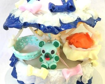 Merry-go-round, carousel, fimo, fact hand/blue/figurine/baby/bear/fantasia/attraction/glitter/cape/orange/strap/idea gift/baby shower/baptism.