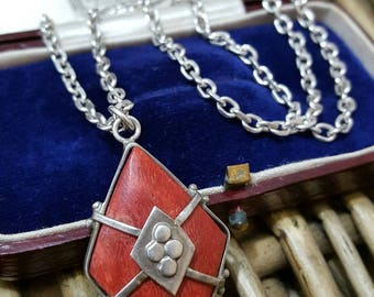 Vintage solid silver necklace pendant, red sponge coral, fully hallmarked chain