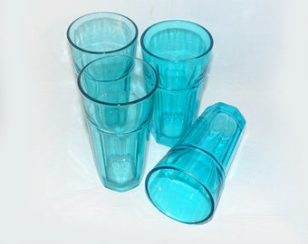 Vintage set of 4  Duratuff teal-tinted tumblers - 1298