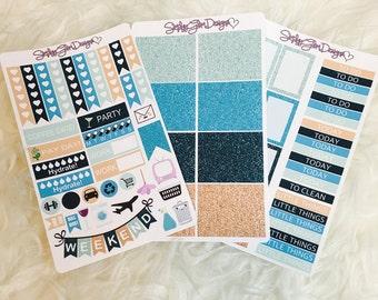 Seaside Glitter Weekly Sticker Kit | Erin Condren & Plum Paper Planner