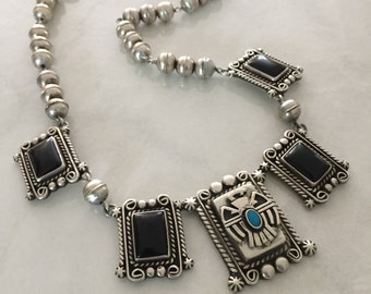 Navajo Indian Sterling Onyx Turquoise Necklace~Silver Bench Beads~Thunderbird Tribal Old Pawn Native American Jewelry~Reclaimed & Handmade~