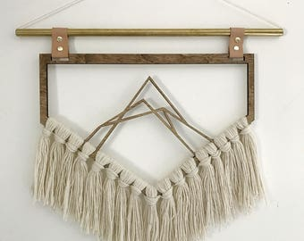 Mountain Wall Hanging || Wood, Brass, Yarn, Leather Tapestry