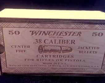 Vintage Style .38 caliber Wood Cartridge box