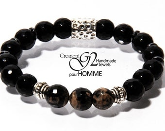Black agate bracelet and Two-tone Homme
