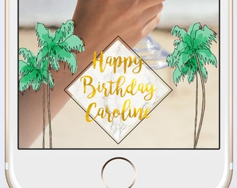 Birthday Custom Snapchat Geofilter Personalized Geo Filter with Customized Name / Palm Tree Marble Gold Foil Tropical Party Summer Foliage