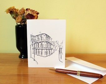 New Orleans Greeting Card Set of 5, Blank Greeting Cards, French Quarter, NOLA, Unique Art Sketch, Cityscape, Architecture Greeting Cards