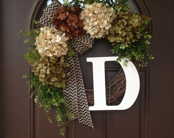 Monogram Everyday Wreath for Front Door - Rustic Grapevine Wreath with Burlap Bow- Hydrangea Year Round Wreath with Initial - Housewarming