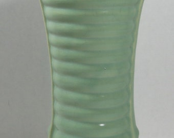 Brush McCoy Vase Green Ribbed Marked 593 USA Art Deco Style