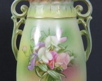 "Antique Austrian Double Handled 7"" Vase Floral Pastel Greens & Pinks"