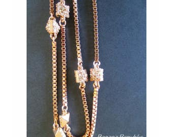 Chain Necklace * Banana Republic * Long Necklace * Rhinestones * Classic Vintage * Gift For Her