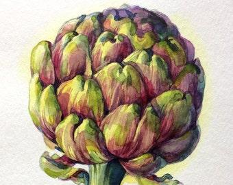 artichoke flower still life  ORIGINAL watercolor kitchen art gift home decor