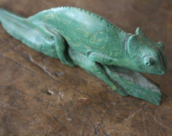 Rare Chameleon Verdite stone carving from South Africa - Cape Town. Antique