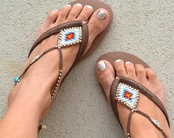 Bohemian Flip Flop, Sandals, Boho Sandals, Rose Gold Havaianas, Women Sandals, Foot Jewelry, Women Anklet, Beach Sandals, Beaded Sandals