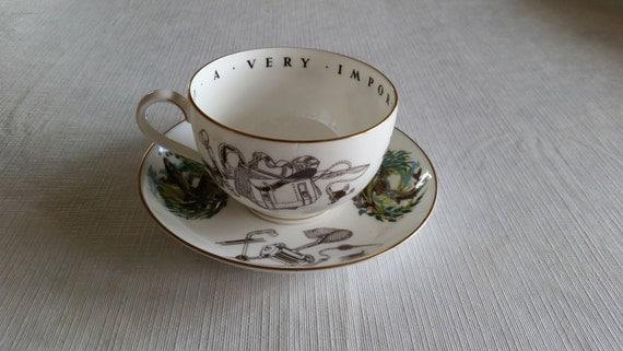 Vintage Royal Worcester Large Oversize Cup Saucer Set Fly