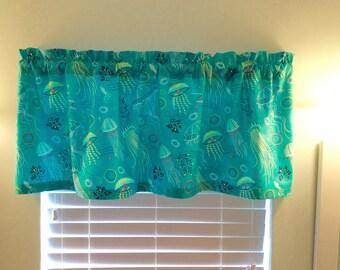Sealife Window Valance-Beach Valance-Lake-Coastal Curtains-Kitchen Curtains-Nautical Decor-Tropical Decor-Beach Curtains