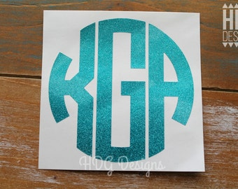 Monogram Decal - Glitter Monogram Decal - Glitter Monogram - Car Decal - Laptop decal - Tumbler  decal - Yeti decal - RTIC decal