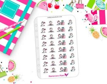 1778 - Cleaning Kawaii Unicorns Planner Stickers