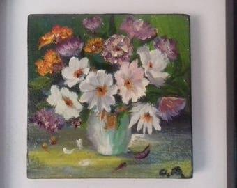 Flowers in vase-still life miniature painting -oil on wood/ oil painting/