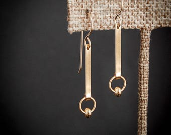 Gold Bar Earrings, Long Bar Earrings, Gold Earrings,Gold Dangle Earrings, Modern Gold Earrings,Delicate Gold Earrings,Gold Feminine Earrings