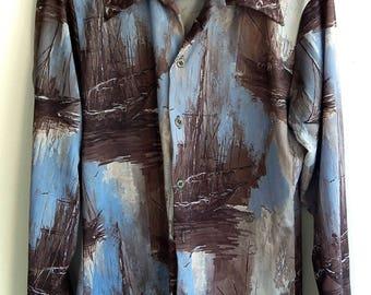 Rare 1970's Collectible Sofa Art Painting Sailboat Kitsch Disco Polyester Photo Print Men's Shirt M/S