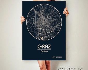 Graz Austria CANVAS Map Graz Austria Poster City Map Graz Austria Art Print Graz Austria