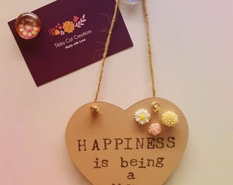 Hand decorated hanging heart decoration