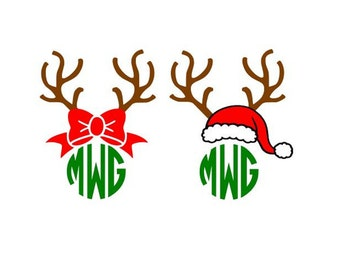 Christmas Reindeer Antlers Bow Santa Hat Monogram cutting file svg, dxf, eps Cricut Design Space Cameo Silhouette Studio