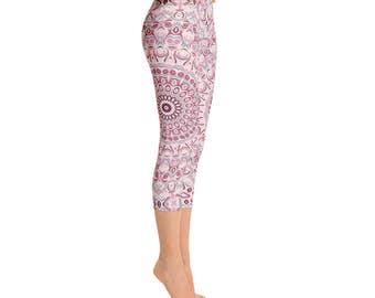 Mid Rise Capri Yoga Pants Pink - Womens Yoga Leggings, Print Leggings, Antique Pink Mandala Print Pants, Stretch Leggings