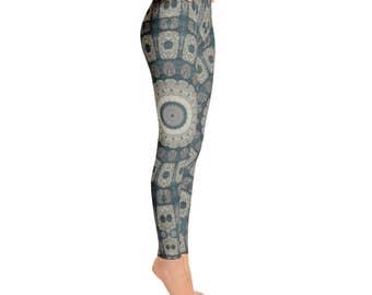 Mid Rise Mandala Patterned Boho Leggings - Womens Printed Leggings, Tribal Yoga Pants, Shaman Clothing