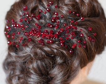 Red Bridal Hair Comb Wedding Hair Comb Red Hairpiece Boho Style Wedding Day Accessories Red Hair Vine Bridesmaid Headpiece Beaded Hair Comb