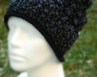 Hand Crochet  Hat, Crochet Hat,  Black Crochet Hat, Winter Hat, Winter Accessories, Warm Hat, Gray Hat, Womens Slouchy Beanie,