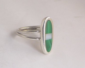 Malachite and Mother-of-Pearl Inlay Sterling Silver Ring by SmithSilver