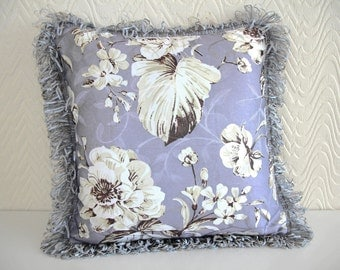 Cushion Queen Luxury Floral Fringes Cushion Cover, Purple
