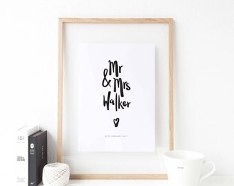 Personalised Mr & Mrs Print - Wedding Gift - Anniversary - Mr and Mrs - Personalised gift - Anniversary present - Personalised wedding