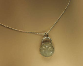 Grey Moonstone Necklace, Carved Natural Moonstone, Man in the Moon Sterling Silver Necklace, Pendant, Chain