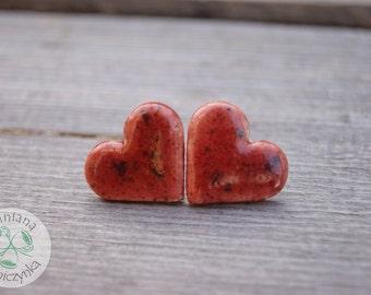 Big red heart earrings, Ceramic stud, hearts stud, ceramic earrings, red earrings, surgical steel posts, red stud, sensitive ears, 2