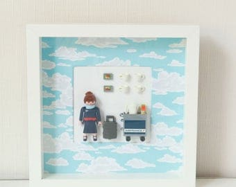Setting Playmobil STEWARDESS, playmobil Air France, square frame white, recycled product less 50th gift idea, deco cloud, made in france