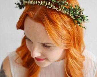 Antique Myrtle Paper Headband, Flapper Bride , Green Leaf Headpiece, Antique German Bridal Garland, Groom Bouttoniere