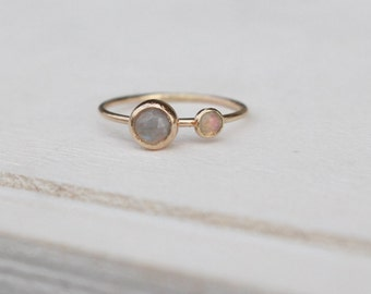 14 K Gold stackable Ring with rainbow moonstone and opal