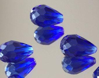 Blue Crystal Beads - Royal Blue Teardrop Beads 12x7mm - Package of 6