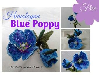 Crochet Poppy, Himalayan Blue Poppy, Free Crochet Flower, Crochet Poppy Flower, Crochet Flower Pattern