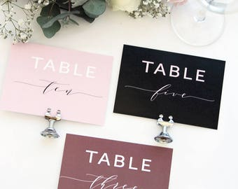Juliana Modern Calligraphy Table Numbers, Elegant Table Numbers, Wedding Table, Printable Table Numbers, Portrait or Landscape, Blush, Black