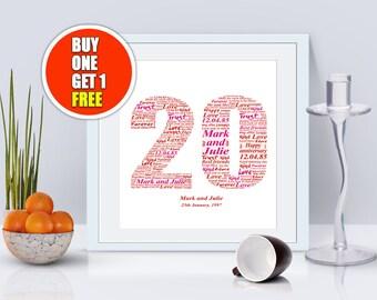 20th anniversary, 20th anniversary gift, twentieth anniversary, 20th anniversary present
