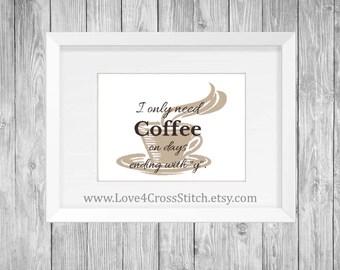 Coffee Cross Stitch Pattern Modern, Funny Cross Stitch, Cross Stitch Coffee, PDF Pattern, Cross Stitch Pattern Funny, House Warming