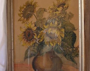 Dream beautiful Watercolour image of sunflowers, original framed
